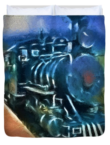 Duvet Cover featuring the digital art The Train by Cathy Anderson