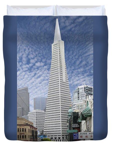 The Transamerica Pyramid - San Francisco Duvet Cover by Mike McGlothlen
