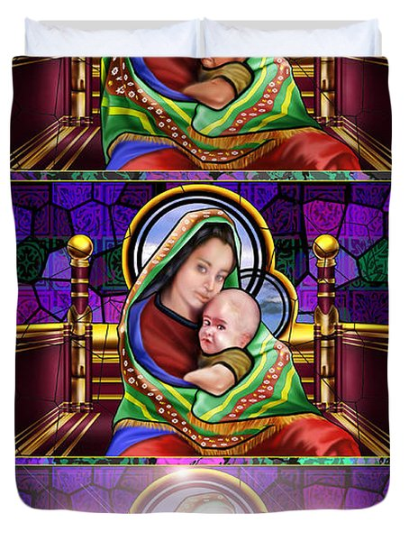 The Transfiguration Of Madonna And Child  Duvet Cover by Reggie Duffie