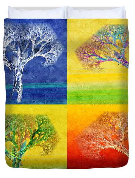 The Tree 4 Seasons - Painterly - Abstract - Fractal Art Duvet Cover by Andee Design