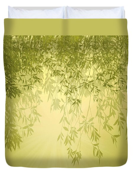 Duvet Cover featuring the photograph The Trees First Light by Holly Kempe