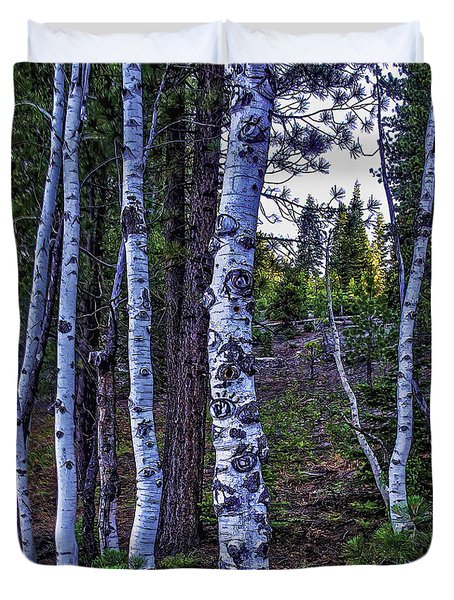 Duvet Cover featuring the photograph The Trees Have Eyes-d by Nancy Marie Ricketts