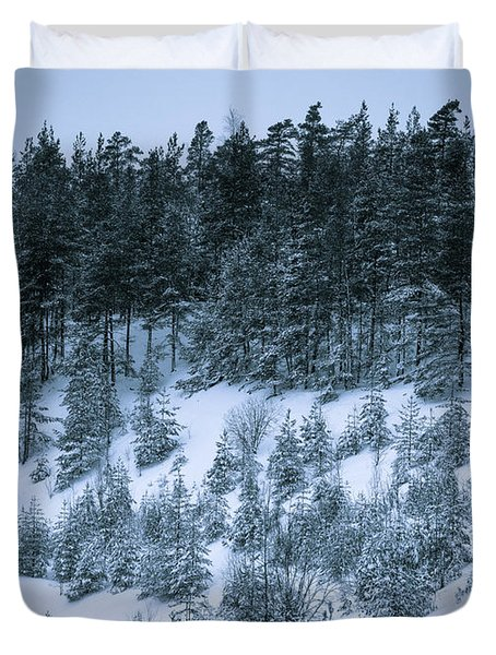 The Trees Of The Snowy Hill Duvet Cover