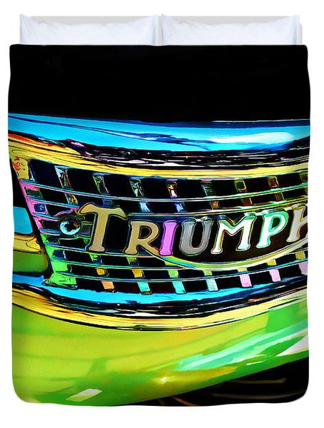 The Triumph Petrol Tank Duvet Cover by Steve Taylor