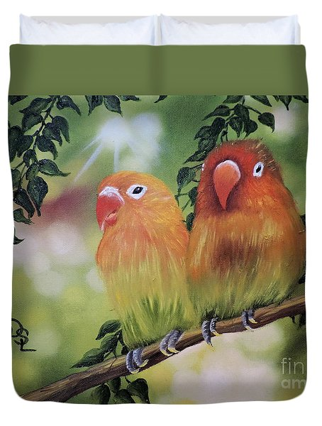 The Tweetest Love Duvet Cover by Dianna Lewis
