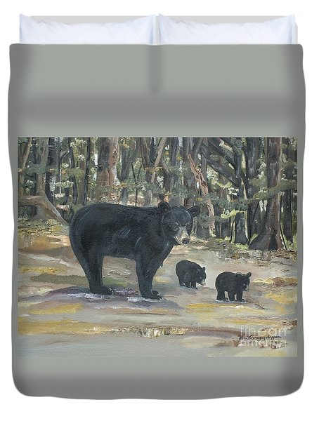 Duvet Cover featuring the painting Cubs - Bears - Goldilocks And The Three Bears by Jan Dappen