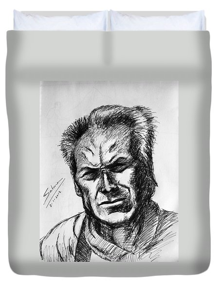 Duvet Cover featuring the painting Clint Eastwood by Salman Ravish