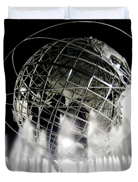The Unisphere's 50th Anniversary Duvet Cover by Ed Weidman