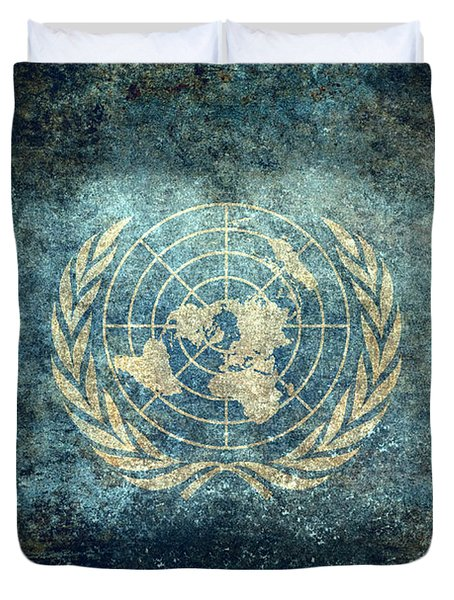 The United Nations Flag  Vintage Version Duvet Cover