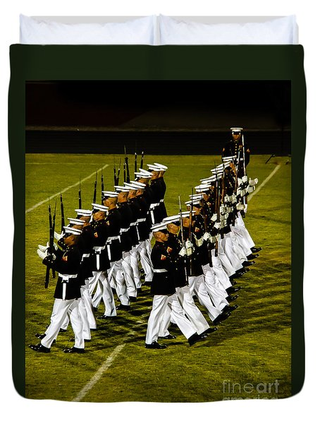 The United States Marine Corps Silent Drill Platoon Duvet Cover