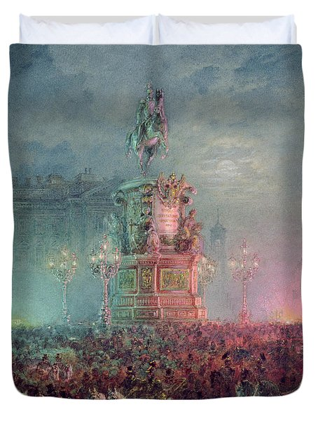 The Unveiling Of The Nicholas I Memorial In St. Petersburg Duvet Cover by Vasili Semenovich Sadovnikov