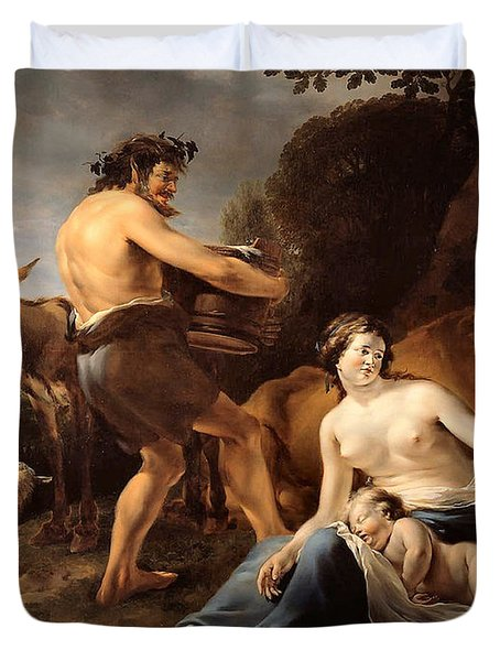 The Upbringing Of Zeus Duvet Cover by Nicolaes Pietersz Berchem