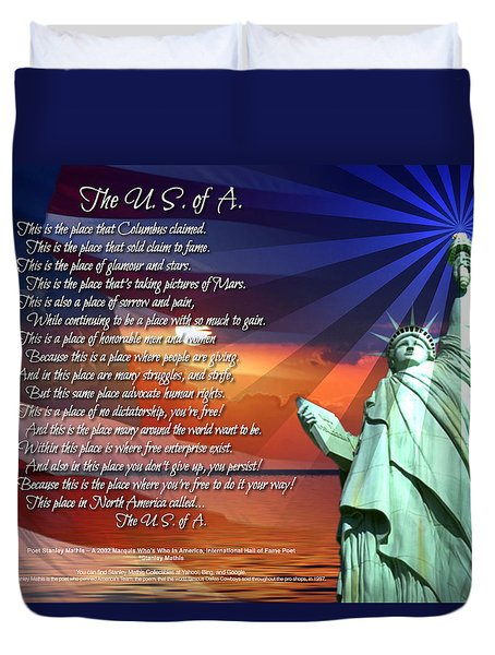 The Usa Statue Of Liberty Poetry Art Poster Duvet Cover by Stanley Mathis
