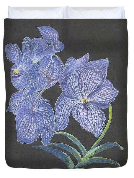 Duvet Cover featuring the painting The Vanda Orchid by Carol Wisniewski