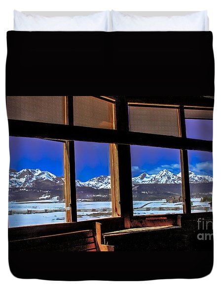 The View From The Sawtooth Valley Meditation Chapel Duvet Cover by Robert Bales