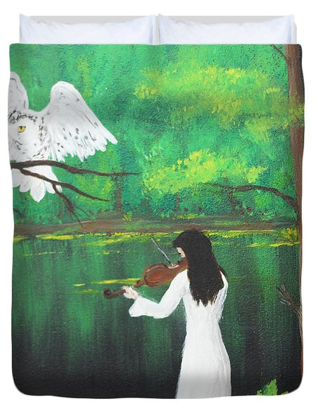 The Violinist By The River   Duvet Cover
