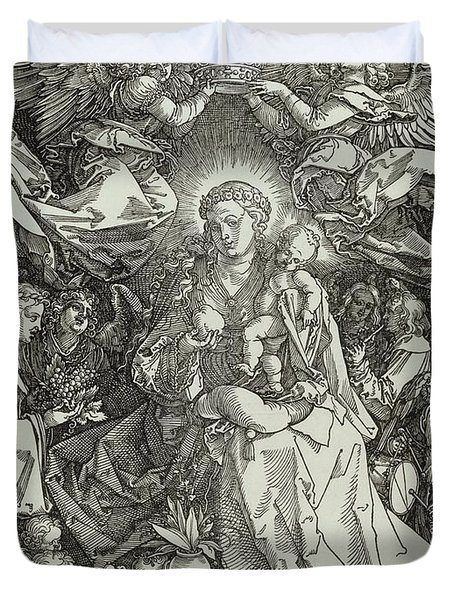 The Virgin And Child Surrounded By Angels Duvet Cover by Albrecht Durer or Duerer