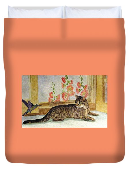 Duvet Cover featuring the painting The Visitor by Angela Davies