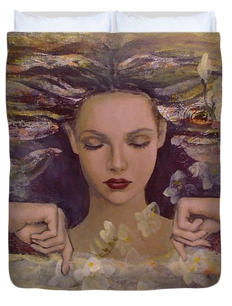 The Voice Of The Thoughts Duvet Cover by Dorina  Costras
