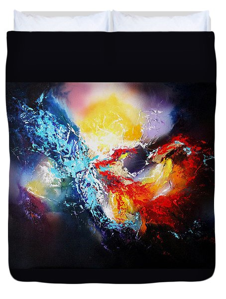 Duvet Cover featuring the painting The Vortex by Patricia Lintner