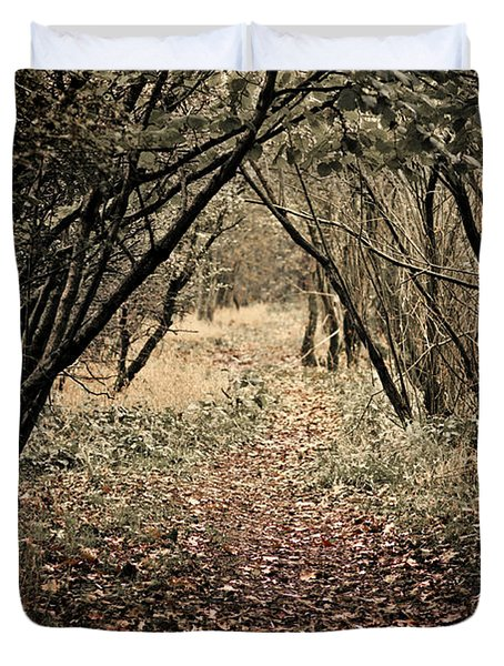 Duvet Cover featuring the photograph The Walk by Meirion Matthias