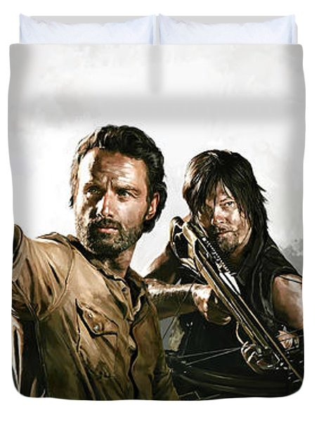 Duvet Cover featuring the painting The Walking Dead Artwork 1 by Sheraz A