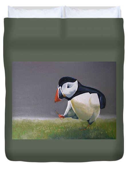 The Walking Puffin Duvet Cover