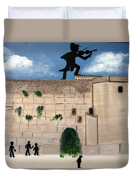 Duvet Cover featuring the painting The  Western Wall And Fiddler On The Roof by Nora Shepley