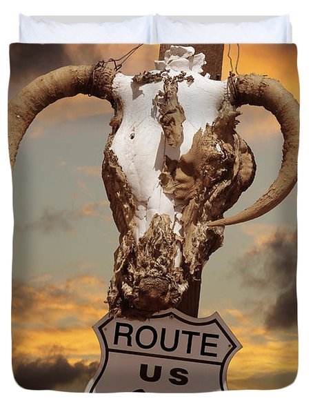 The Warmth Of Route 66 Duvet Cover by Mike McGlothlen