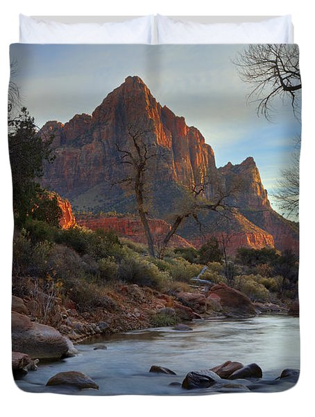 The Watchman In Winter-2 Duvet Cover by Alan Vance Ley
