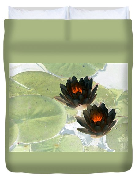 Duvet Cover featuring the photograph The Water Lilies Collection - Photopower 1039 by Pamela Critchlow