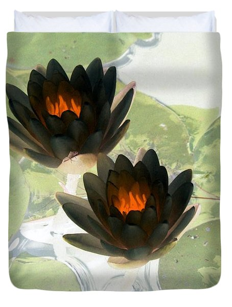 Duvet Cover featuring the photograph The Water Lilies Collection - Photopower 1040 by Pamela Critchlow