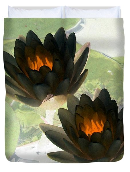 Duvet Cover featuring the photograph The Water Lilies Collection - Photopower 1041 by Pamela Critchlow