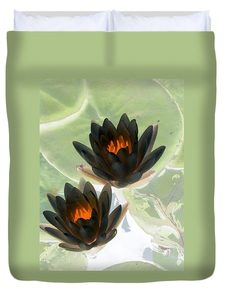 Duvet Cover featuring the photograph The Water Lilies Collection - Photopower 1046 by Pamela Critchlow
