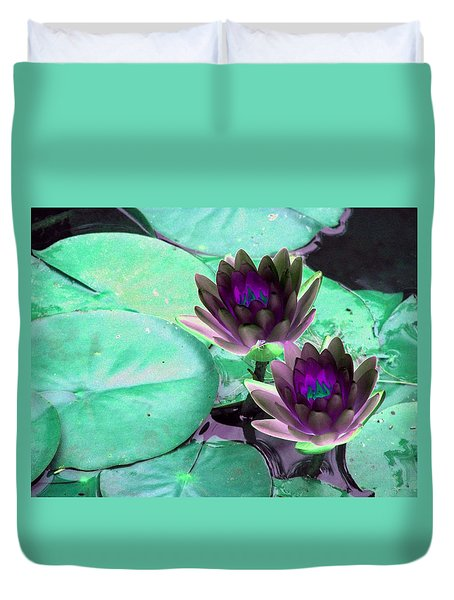 Duvet Cover featuring the photograph The Water Lilies Collection - Photopower 1118 by Pamela Critchlow