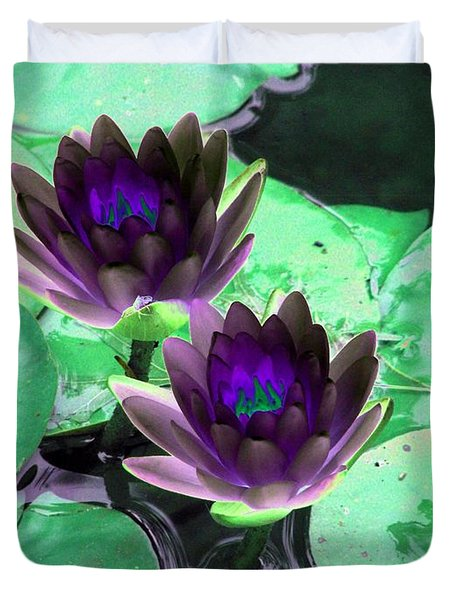 Duvet Cover featuring the photograph The Water Lilies Collection - Photopower 1119 by Pamela Critchlow