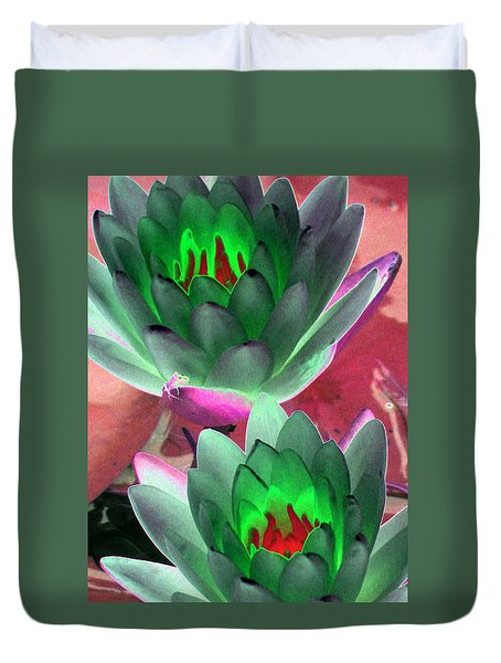 Duvet Cover featuring the photograph The Water Lilies Collection - Photopower 1121 by Pamela Critchlow