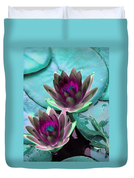 Duvet Cover featuring the photograph The Water Lilies Collection - Photopower 1124 by Pamela Critchlow