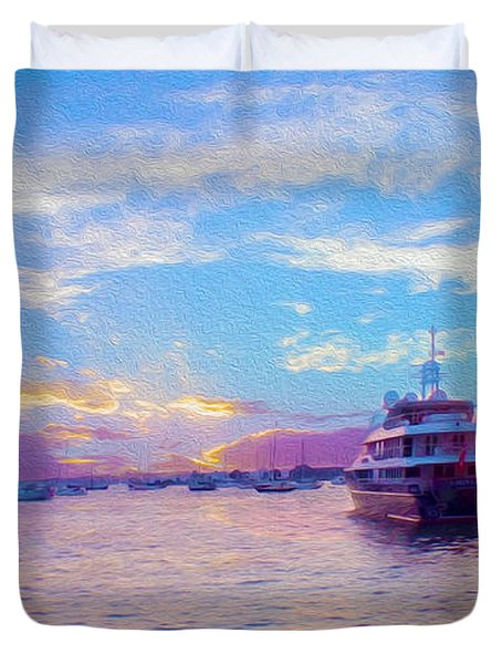 The Waters Are Calm Painting  Duvet Cover by Jon Neidert