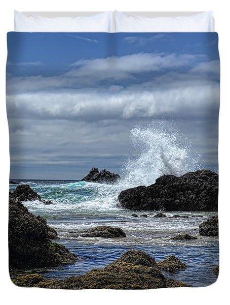 The Waves At Haystack Rock Duvet Cover