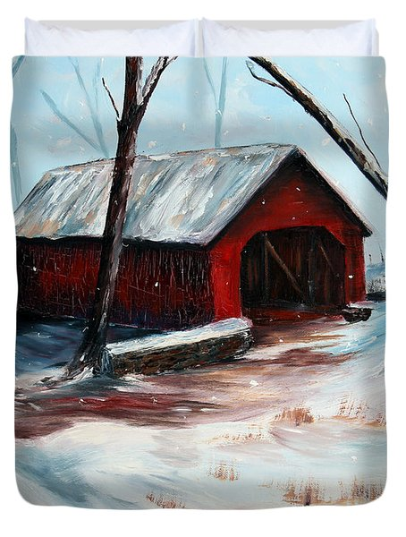 Duvet Cover featuring the painting The Way Home by Meaghan Troup