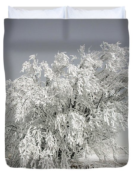 The Weight Of Winter Duvet Cover by John Haldane