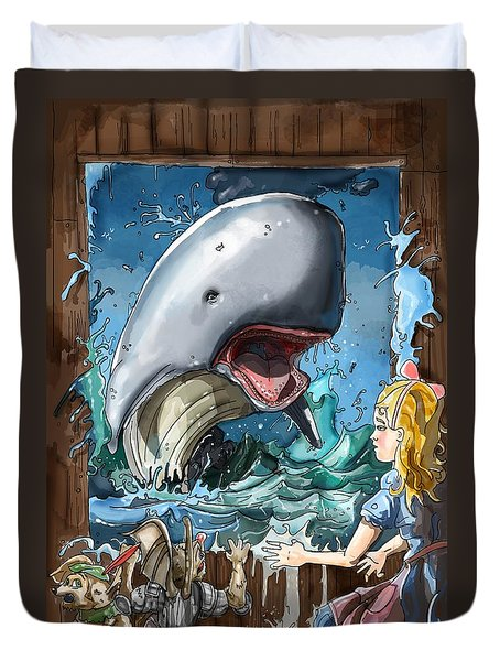 Duvet Cover featuring the painting The Whale by Reynold Jay