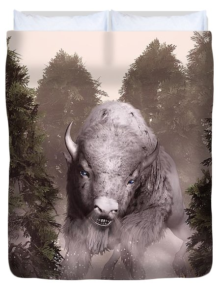 Duvet Cover featuring the digital art The White Buffalo by Daniel Eskridge