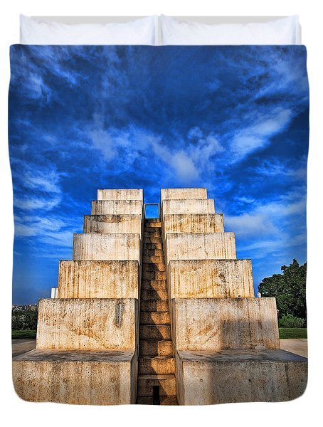 Duvet Cover featuring the photograph The White City by Ron Shoshani