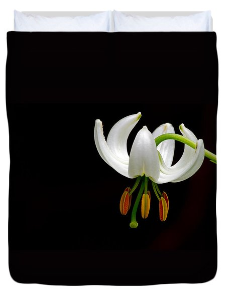 The White Form Of Lilium Martagon Named Album Duvet Cover by Torbjorn Swenelius