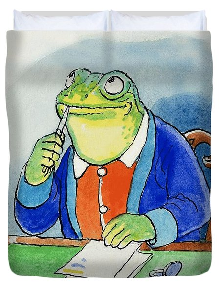 The Wind In The Willows Toad Composing A Letter Duvet Cover