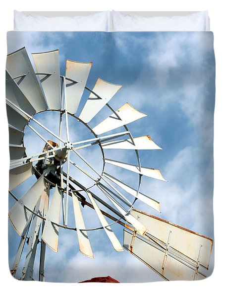 The Wind Wheel Duvet Cover by Kathy  White