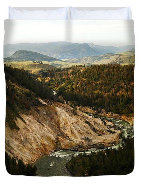 The Winding Yellowstone Duvet Cover by Jeff Swan
