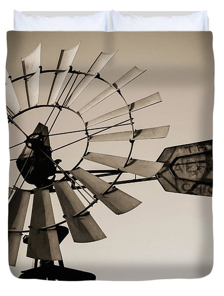 Duvet Cover featuring the photograph The Windmill by Amber Kresge
